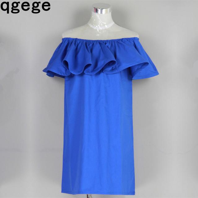 лето Платье широким воланом 2015 оборками платье слэш шеи сексуальное открытыми плечами свободного покроя Женское vestidos пляж платья поясом 100% хлопок