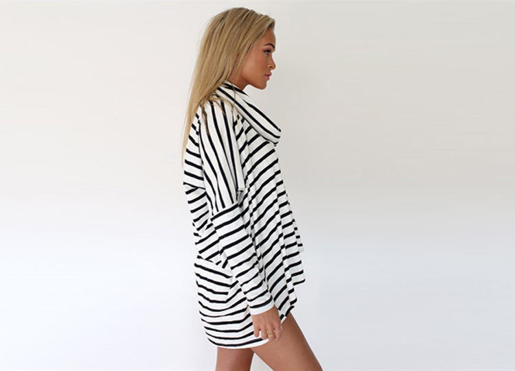 Style Womens Black And White Striped Casual Long Sleeve