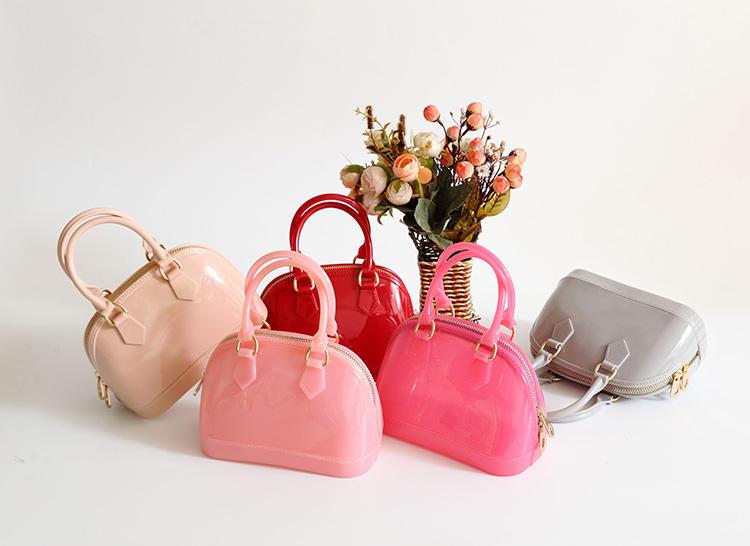 New children Kid candy color shoulder bag girl new mini handbag jelly patent transparent purse tote PVC Messenger bag Xmas gift(China (Mainland))