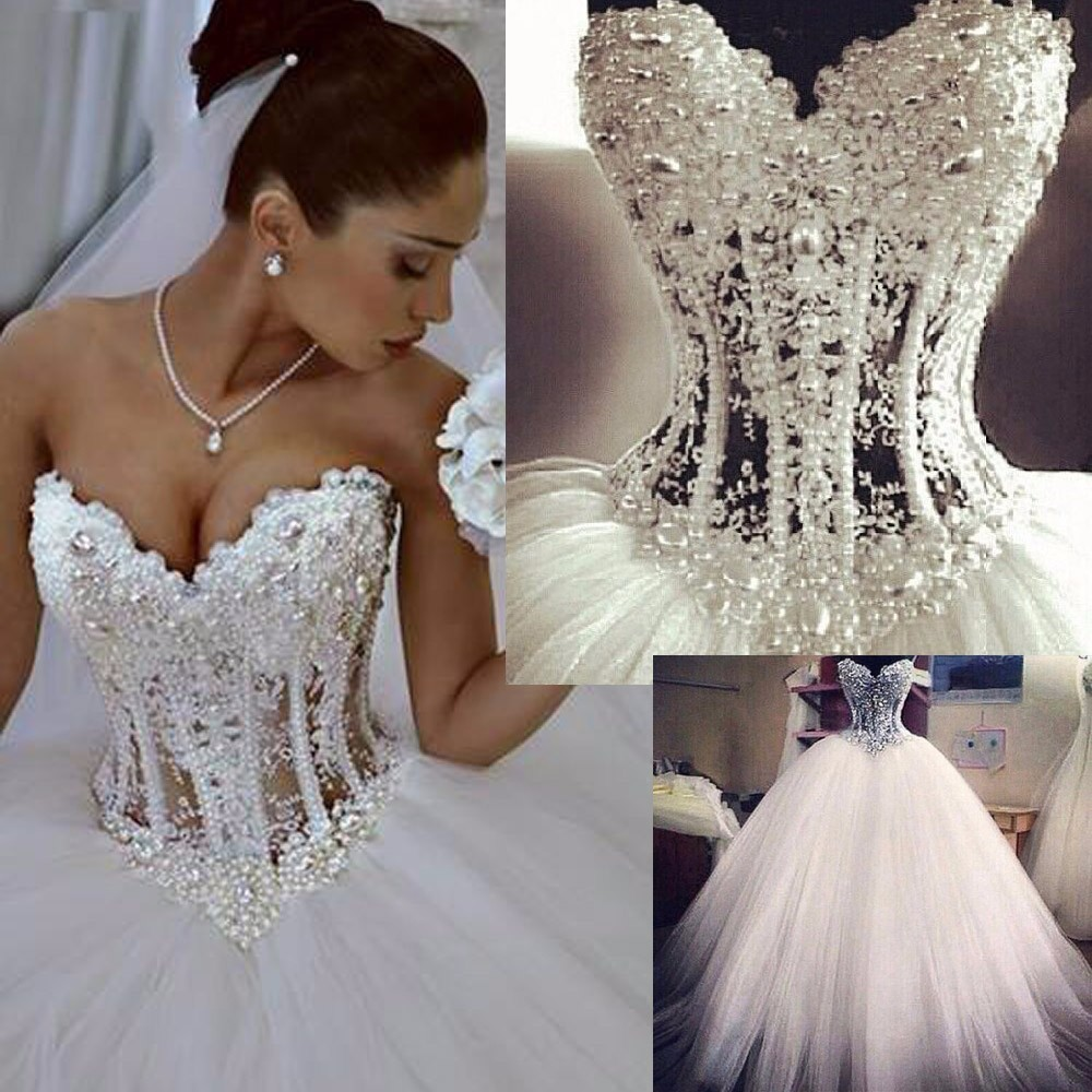 Real photo Strapless Lace Up Ball Gown Beading Crystal Sweetheart Wedding Dresses 2016 vestidos de noiva robe de mariage(China (Mainland))