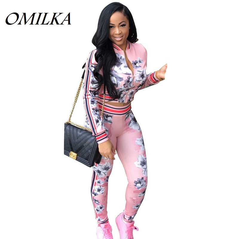 OMILKA Womens Two Piece Outfit Set 2017 Floral Print Front Zipper Clothes Set Casual 2 Piece Long Sleeve Tracksuit Clothing Suit