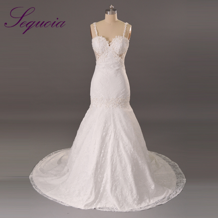 Vestido de noiva white sweetheart spaghetti strap bridal for Spaghetti strap backless wedding dress