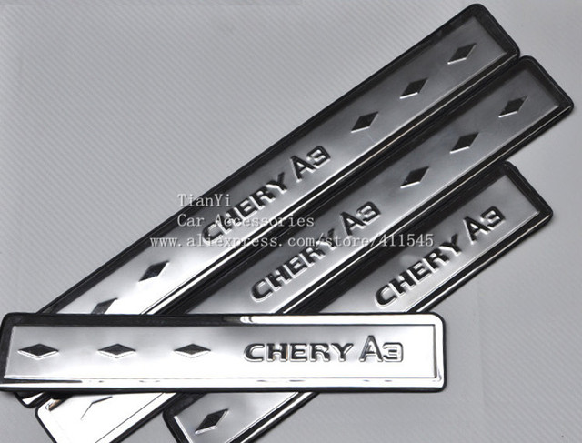 Free shipping/Chery door sill fit /car stainless steel Threshold cover for  Chery Fulwin Very Bnous(A13) M11(A3) Tiggo Indis QQ