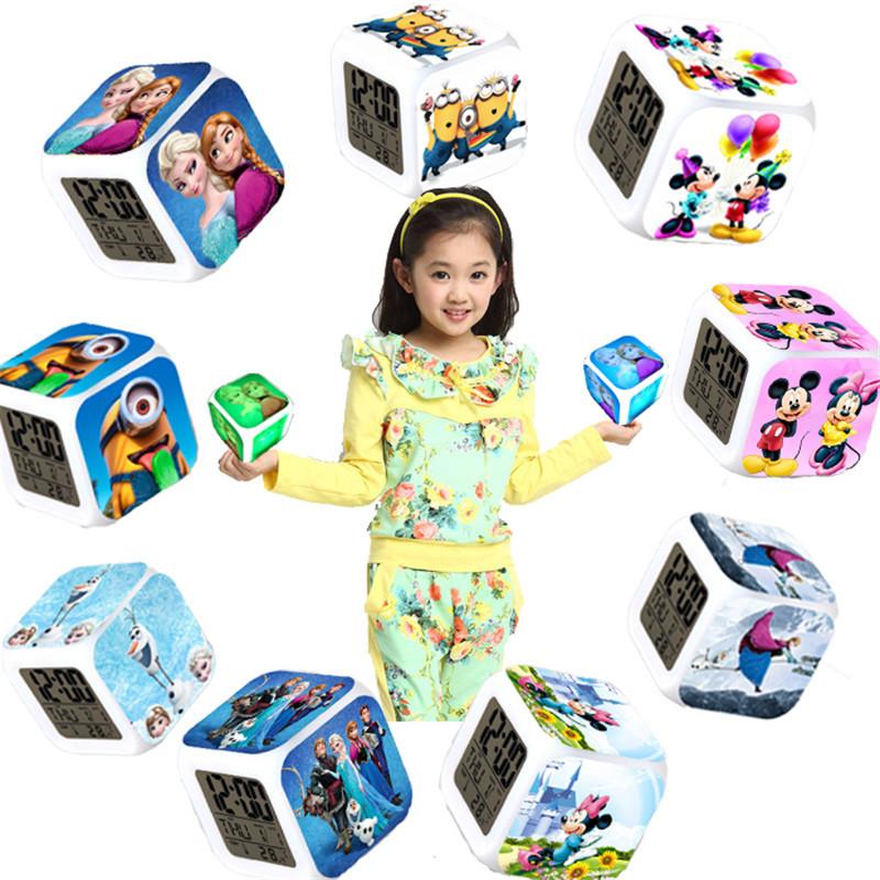 26 different cartoon 7 colors change LED digital clock desktop clocks Electronic Watch best alarm clock gift for kids CL002(China (Mainland))