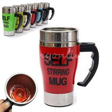 New Stylish 6 colors Stainless Steel Lazy Self Stirring Mug Auto Mixing Tea Milk Coffee Cup Office Home Gift Eco-Friendly