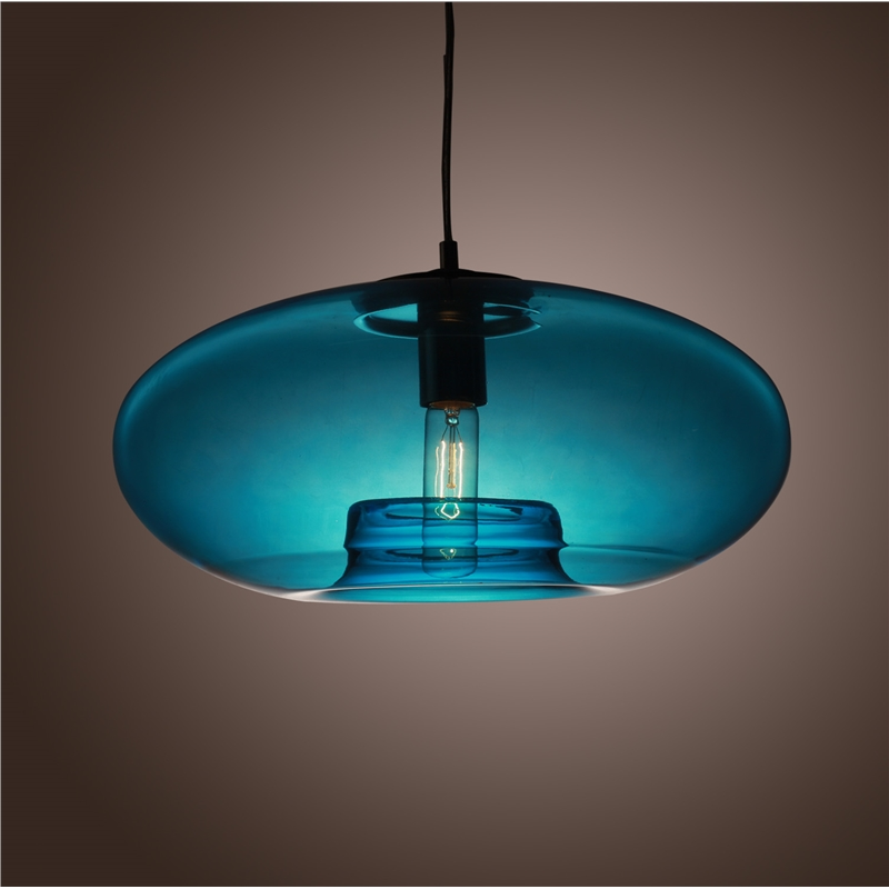 Фотография Round light lamp Contemporary Glass Pendant Light lamp for home lighting Blue Color