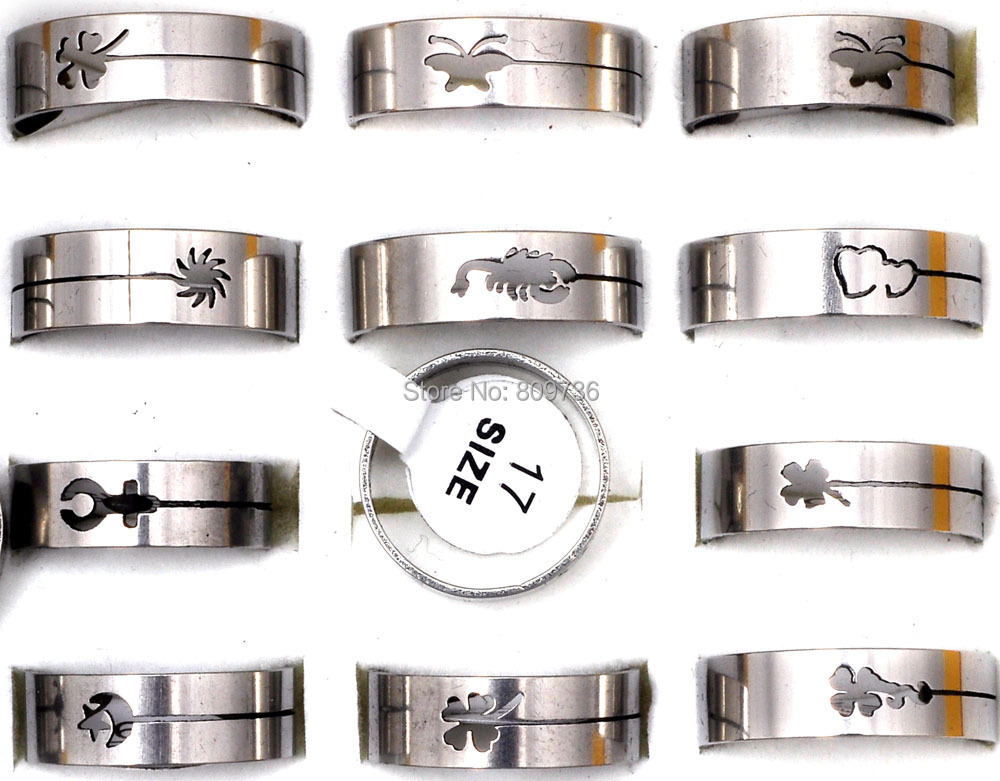 12Pcs Fashion Silver Tone Stainless Steel Rings Wholesale Bulk Lots Mix Size Band Men's Jewelry Women Charm Ring Gift Cheap(China (Mainland))