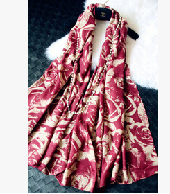 180*100cm Autumn&Winter Voile Rose Pattern Print Scarves&Showls For Women Brand Vintage Floral Pashmina Wholesale Accessory(China (Mainland))