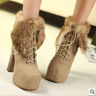 Rabbit fur luxury 2013 fashion high-heeled shoes thick heel boots platform autumn winter ankle - KEY LI's store