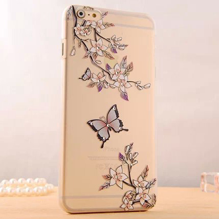 3D Butterfly & Flower Matte Transparent PC Phone Back Cover Glitter Rhinestone Diamond Phone Case For iPhone 5 5S Phones(China (Mainland))