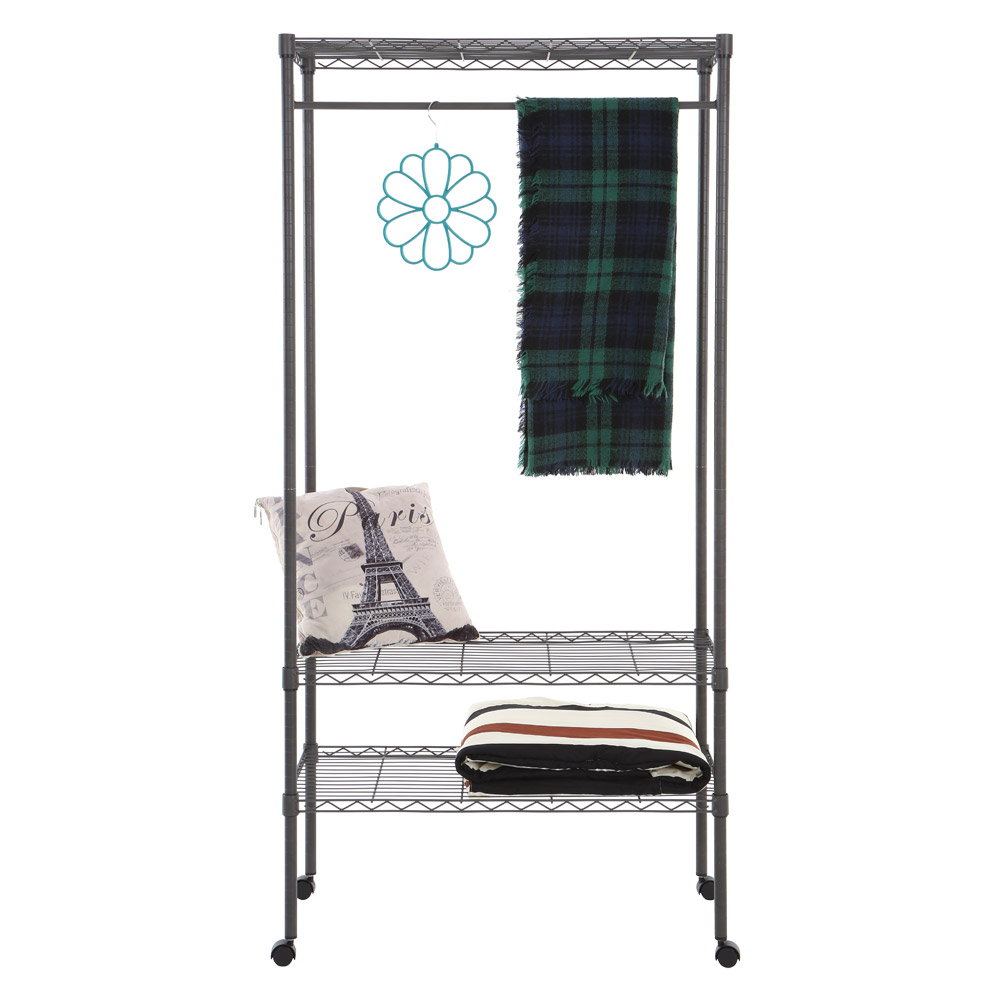Home Storage Rack Movable Clothes Rack Garment Rack with Top and Bottom Shelves Rolling Clothes Rack Organizer with Hanger Bar(China (Mainland))
