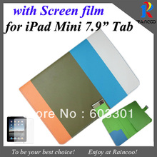 For apple iPad Mini hit color Cool Stylish PU Leather Stand cover with card slots,for ipad mini wallet case+screen film(China (Mainland))