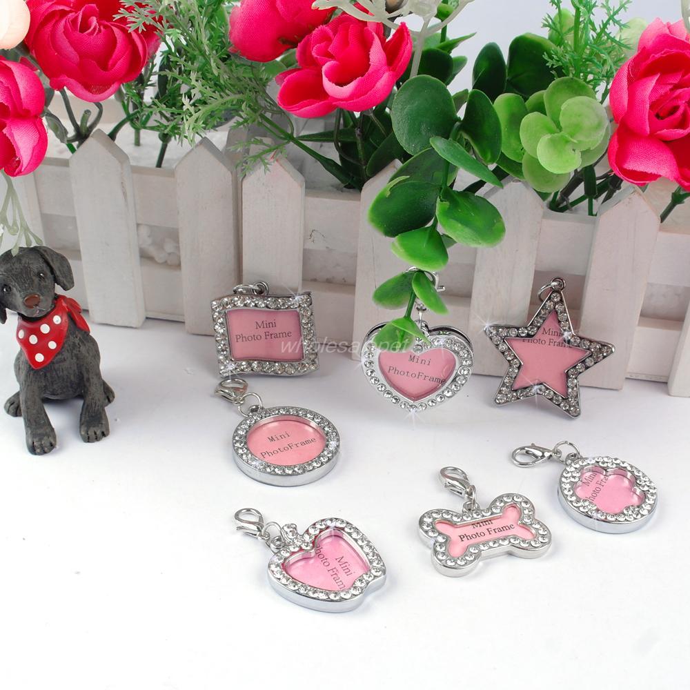 MOQ :30pcs Rhinestone Pet ID Tag Dog Photo Frame Puppy DIY Information Card Pet Necklace Pendant(China (Mainland))