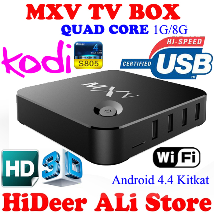 MXV android 4.4 kodi TV BOX Amlogic S805 Quad-Core Cortex-A5 1.5GHz 1GB+8GB wifi 4 high speed USB 2.0 3D HD Kodi 15.2 - HiDeer Tech Co., Ltd Store store