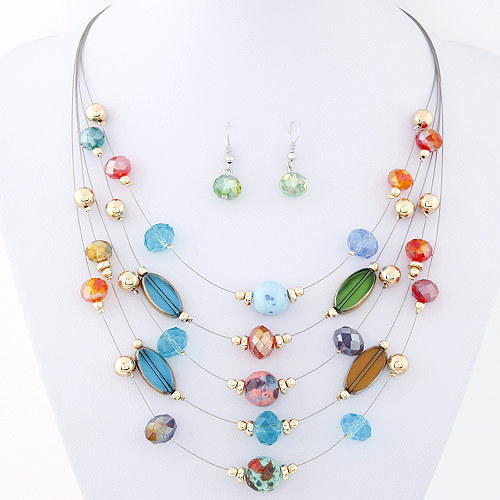 2015 Newest Fashion Vintage Jewelry Sets Joker Bohemian Crystal Multilayer Colorful Beads Statement Necklace Earrings Set(China (Mainland))