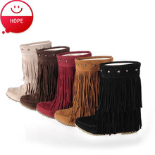 Plus Size34-43 2015 New Sexy Women Winter Snow Boots 5Colors fringe boots Lady Mid-Calf Casual Women's Tassel Boots SBT1564(China (Mainland))