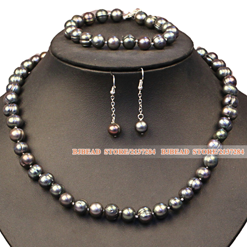 Party And Graceful Mother Gift 9-10mm Natural Gray Black Freshwater Pearl Jewelry Set Hot Sale(Necklace, Bracelet & Earrings)(China (Mainland))