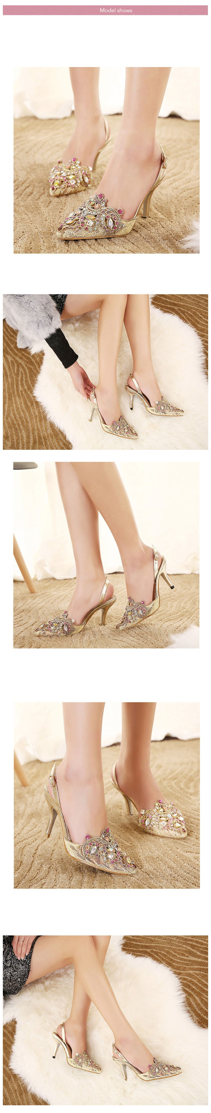 Fashion Golden Thin High Heels Women Pumps Sexy Rhinestone Pointed Toe Buckle Party Shoes New Arrival Women Shoes ZM2.0