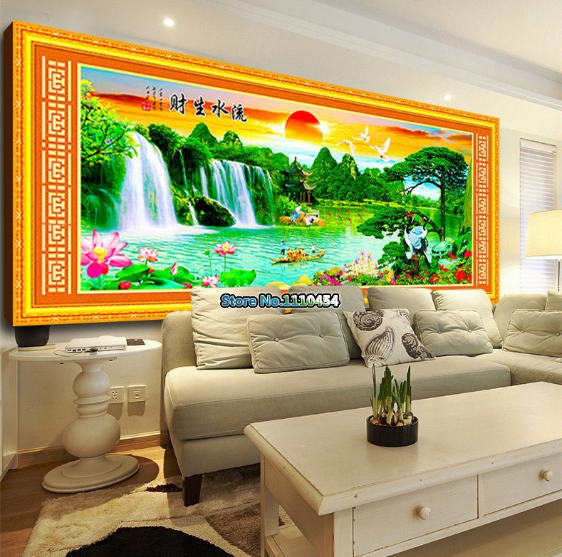 YGS-4 DIY 5D Diamond Painting Cross Stitch Magic Cube Round Diamonds Embroidery Soleil Levant Scenic Landscape Diamond Mosaic(China (Mainland))