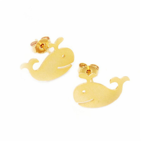 10pair/lot 2016 Women Stylish Jewelry Gold/Silver/Rose Gold Stainless Steel Whale Charm Studs Earrings Bijoux Femme - Show store
