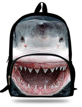 16-inch Shark Backpack for Kids Zoo dangerous Shark Print Bag Animals Schoolbags gift Elementary student Book bag(China (Mainland))