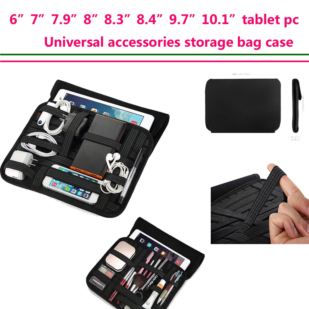"6""7""7.9""8.3""8.4""8.9""9.7""10.1"" Inch Tablet case sleeve Travel Cable Organizer storage Handle for Electronic Accessories Wrap bag(China (Mainland))"