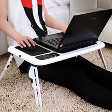 New Portable Adjustable Laptop Notebook PC Desk Table With Built-in Cooling Fan Folding Laptop Cooler Stand  For Bed Sofa Video
