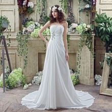 Chiffon Beach Summer Garden Wedding Dresses 2016 White Ivory Strapless Pleat Lace Up Back Long Elegant Bride Gowns(China (Mainland))