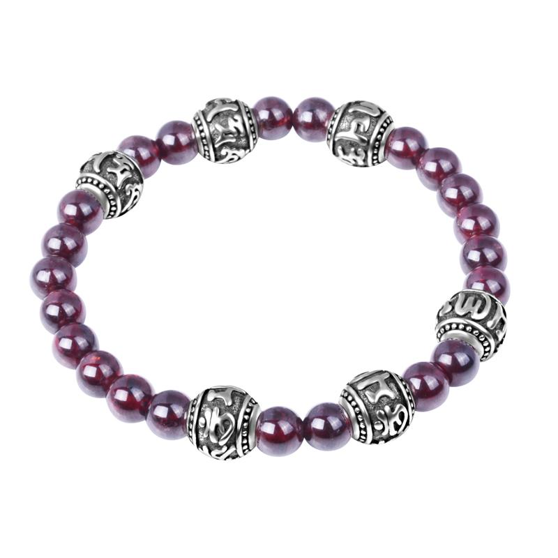 Handmade Real Natural Garnet Beads Bracelet Tibetan 925 Silver OM Mantra Beaded Bracelet Wormen Bracelet jewelry gift<br><br>Aliexpress
