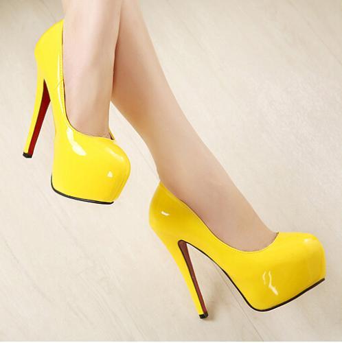 Yellow Red Bottom Heels