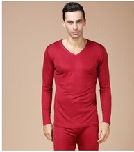 100% mulberry silk Men's silk knitting thickening thermal underwear suit Double sided ribbon and fabrics (China (Mainland))