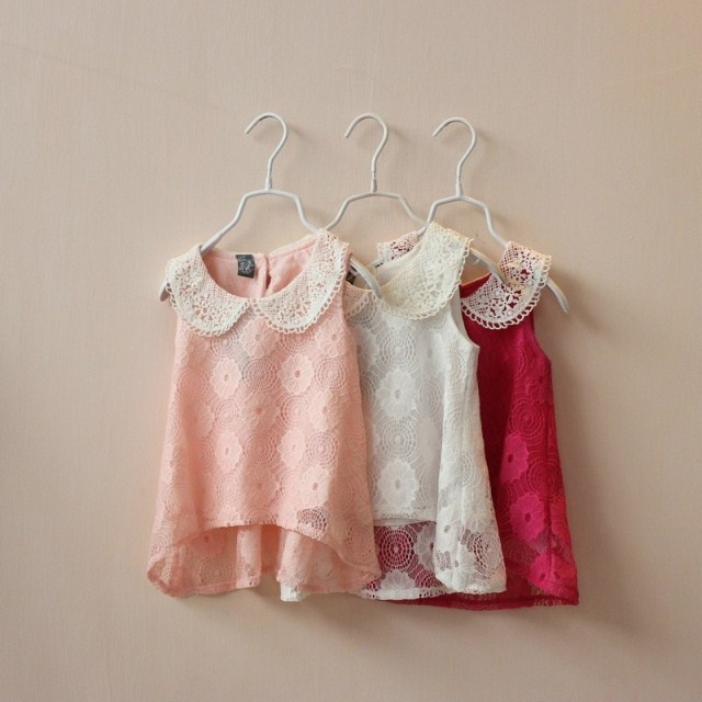 summer new style girl blouses cutout lace flower cover-up lapel sleeveless pink top 6148 - Aggieliu's and Retail Children clothing Store store