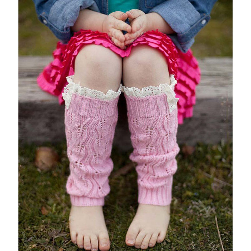 New Kids' Fashion Little Girls' Knitting Leg Warmers Crochet Lace Trim Children Leg Warmers Winter Kids Boot Socks 1 pair JT011(China (Mainland))