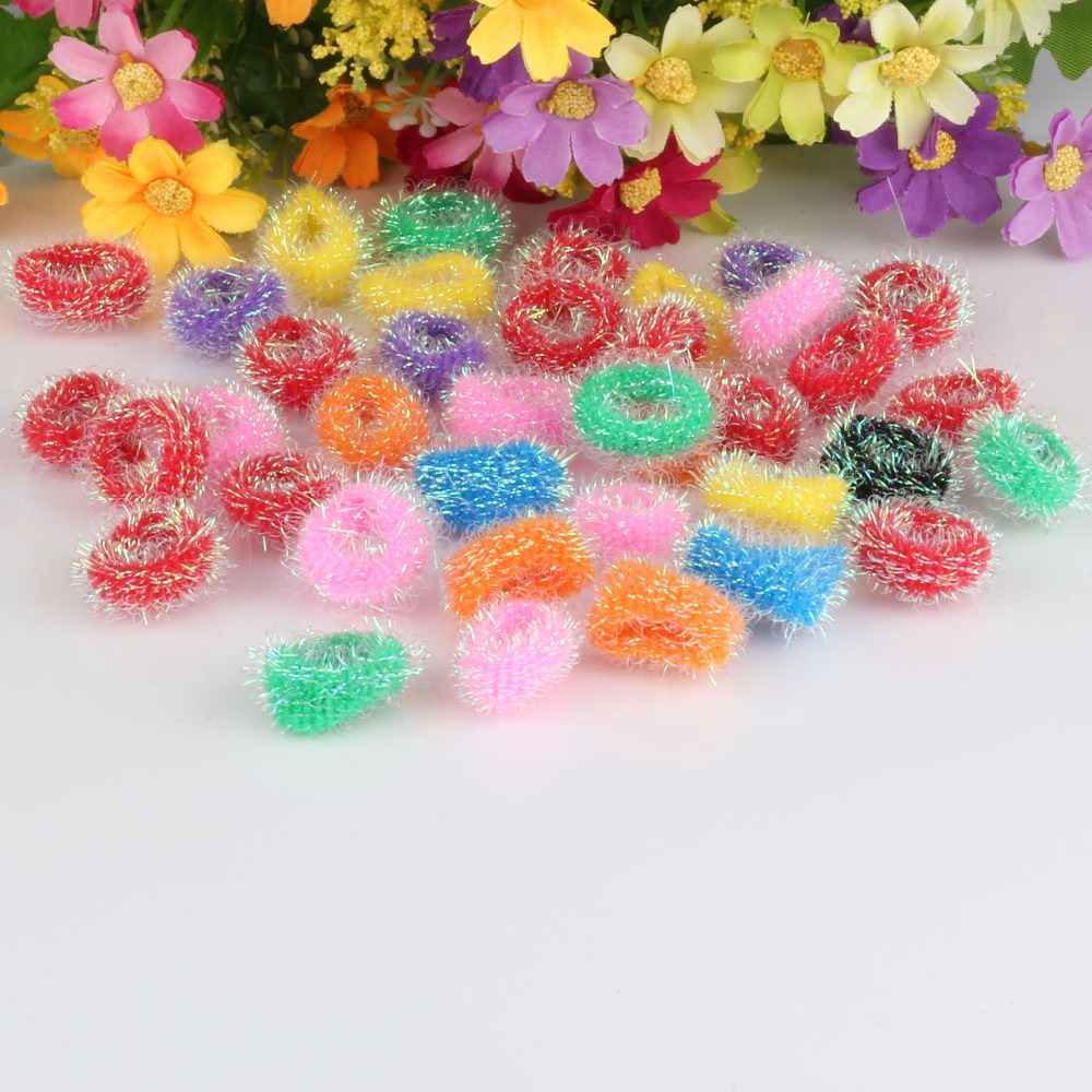 Hot 40pcs/pack Girls Elastics Headband Baby Hair Accessories scrunchy Colorful Small Circle Baby Elastic Hair Band