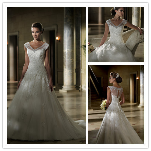 Free Shipping Beautiful Cap Sleeve Wedding Dresses With