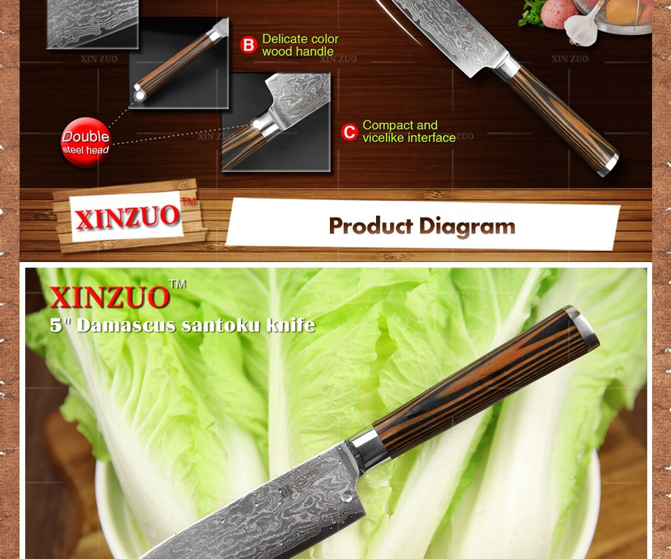 "Buy XINZUO 5""Japanese chef knife 73 layer VG10 Damascus kitchen knife high quality utility santoku knife wooden handle FREE SHIPPING cheap"
