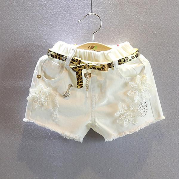 2015 Summer Style Baby Girls Fashion White Beach Shorts Casual Floral Toughskin Bermuda Menino Free Belt(China (Mainland))
