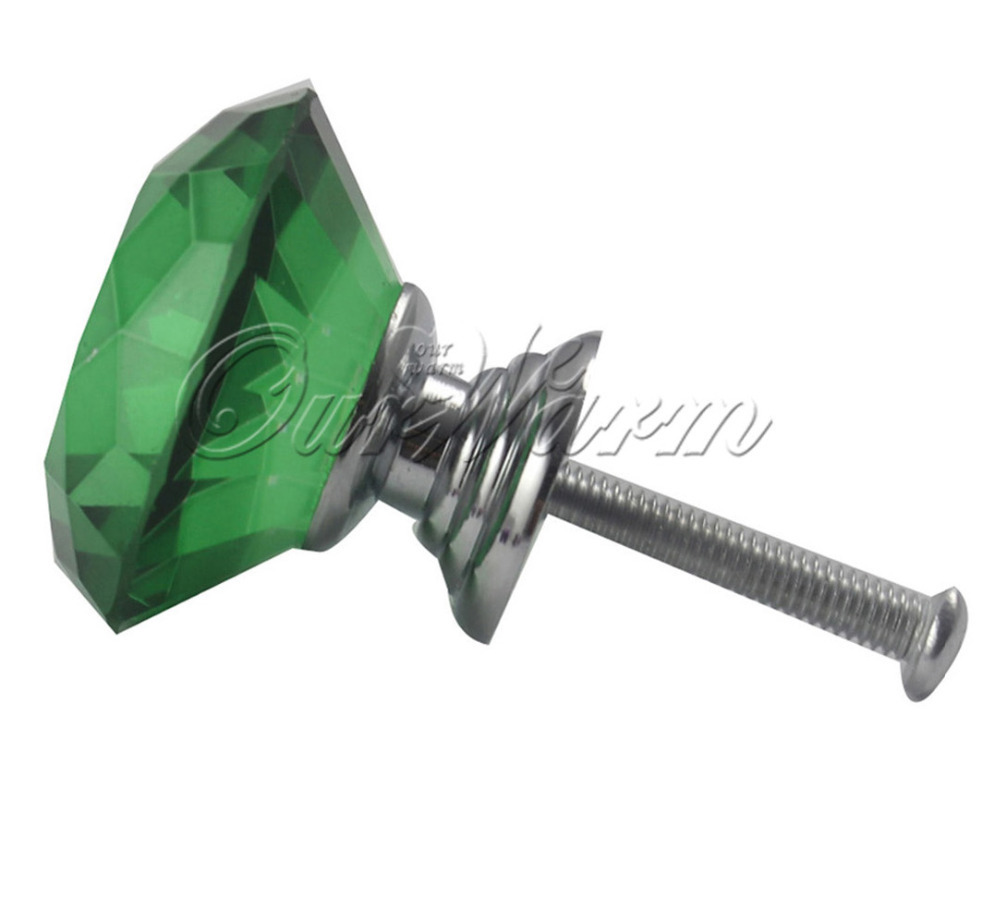 20Pcs/lot Green Color 40mm Diamond Shape Crystal Glass Pull Handle Cupboard Cabinet Drawer Door Furniture Knobs(China (Mainland))