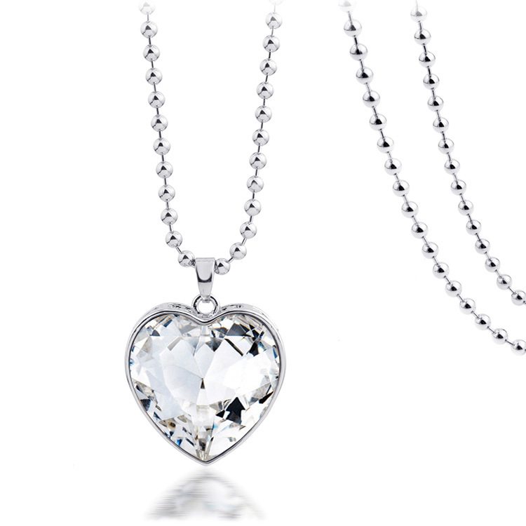 4 Colors Hot Selling Real Silver Plated Imported Crystal Luxury Love Heart Pendants Necklaces Jewelry for Lovers or Bride Y4180(China (Mainland))