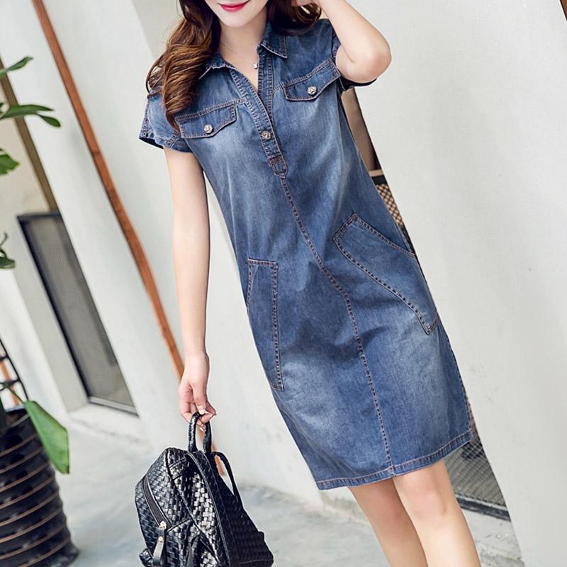 2016 denim dress plus size women clothing casual blue for Jeans shirt for ladies online