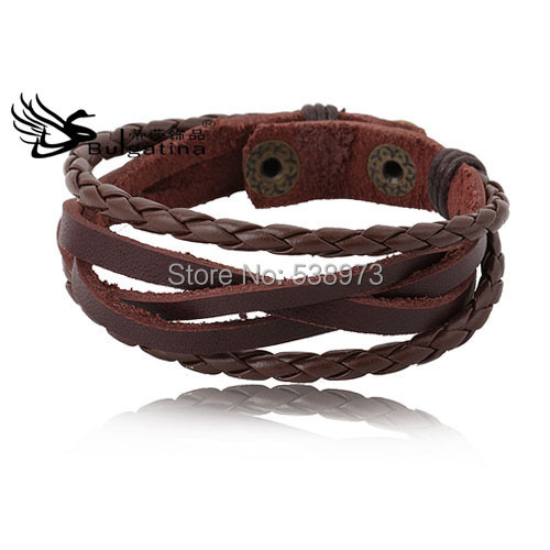 Simple Leather Braided Bracelet Best Quality Lowest Price Brown Boy Wristbands  -  Disha Findings store