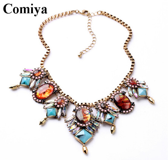 Wholesale Shourouk Chain Chunky Necklace Choker Statement Necklaces & Pendants Fashion box chain Necklace 2015 summer necklaces(China (Mainland))