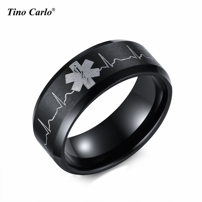 Hot Selling Star of Life Lover Rings Ecg Graph Women Ring 8MM Steel Qulaity Plated Life Star Men Ring SIZE 5~14 SF-270(China (Mainland))