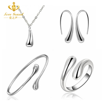 925 Jewelry Sets S222 Silver Water Drop Wedding Bridal Jewelry Set Ring+ Necklace+Bangle+Earrings Solid Women Indian African(China (Mainland))