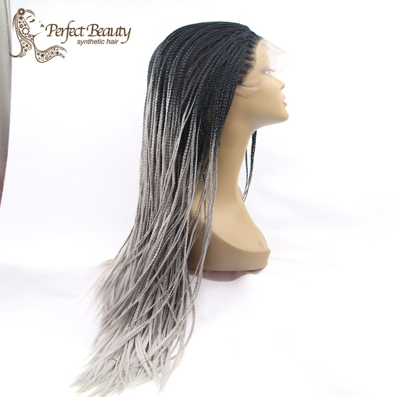 Фотография Ombre Micro Braided Wigs Lace Front Heat Resistant Synthetic Wig For Fashion Women Long Micro Braid Wig