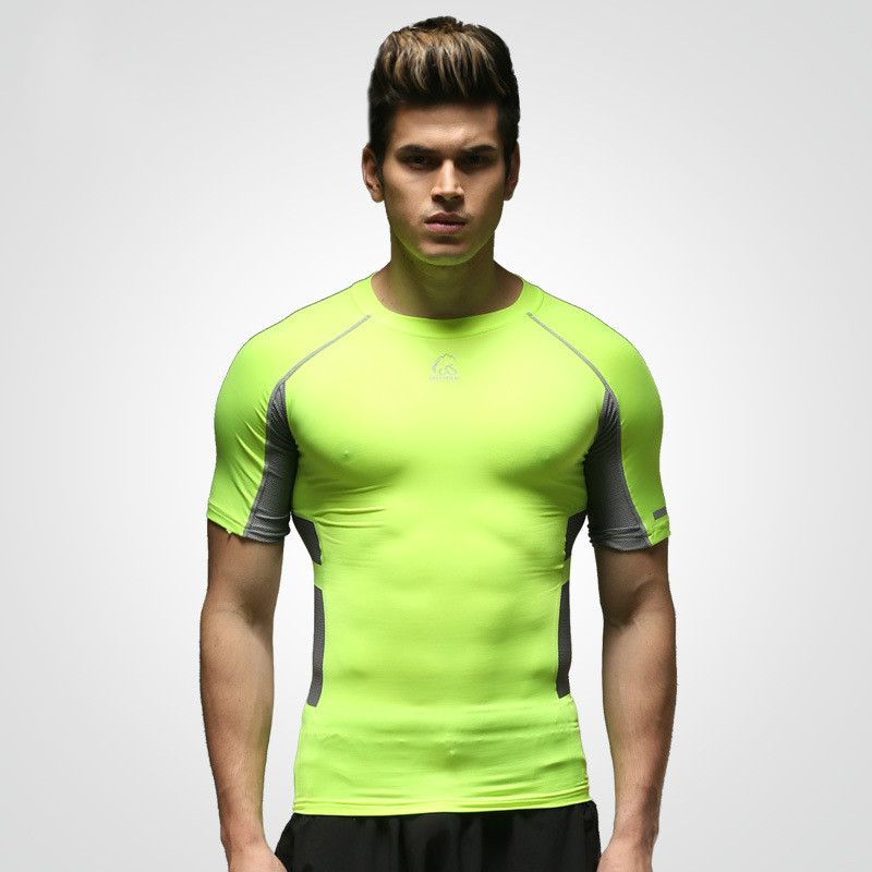 T - Shirt Men Outdoor Sports Short - Sleeved T - Shirt Quick - Drying Stretch Fitness Clothing Football Basketball Clothes(China (Mainland))