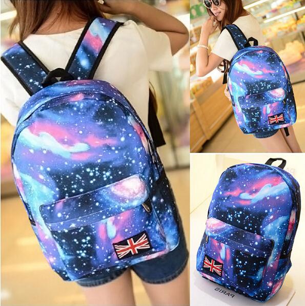 Гаджет  2015 Fashion Women Stars Universe Space printing backpack School Book Backpacks British flag Stars bag free shipping L116 None Камера и Сумки