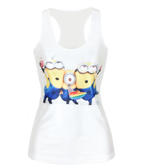V153 Fashion Despicable Me Minions Happy Print Women Tank Top White Camisole Female Vest Clothing(China (Mainland))