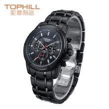 Alta calidad Tophill pulsera de cuarzo hombre multifunción cronógrafo deportivo taquímetro reloj patrón profundo impermeable Dial