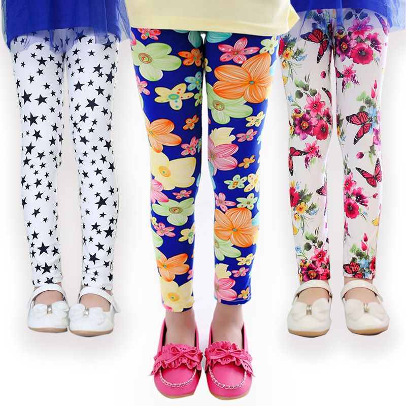 girl pants new arrive printing Flower girls leggings Toddler Classic Leggings 2-14Ybaby girls leggings kids leggings(China (Mainland))